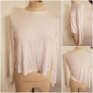 Brandy Melville Crewneck Long Sleeve Crop Top
